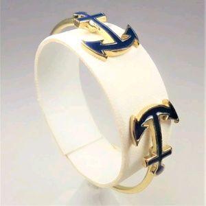 Jewelry - GOLD TONE TWIN BLUE ANCHORS CUFF BRACELET